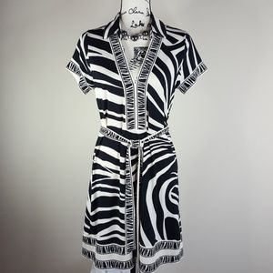 BCBG MAXAZRIA ◇ zebra print dress in cream & black